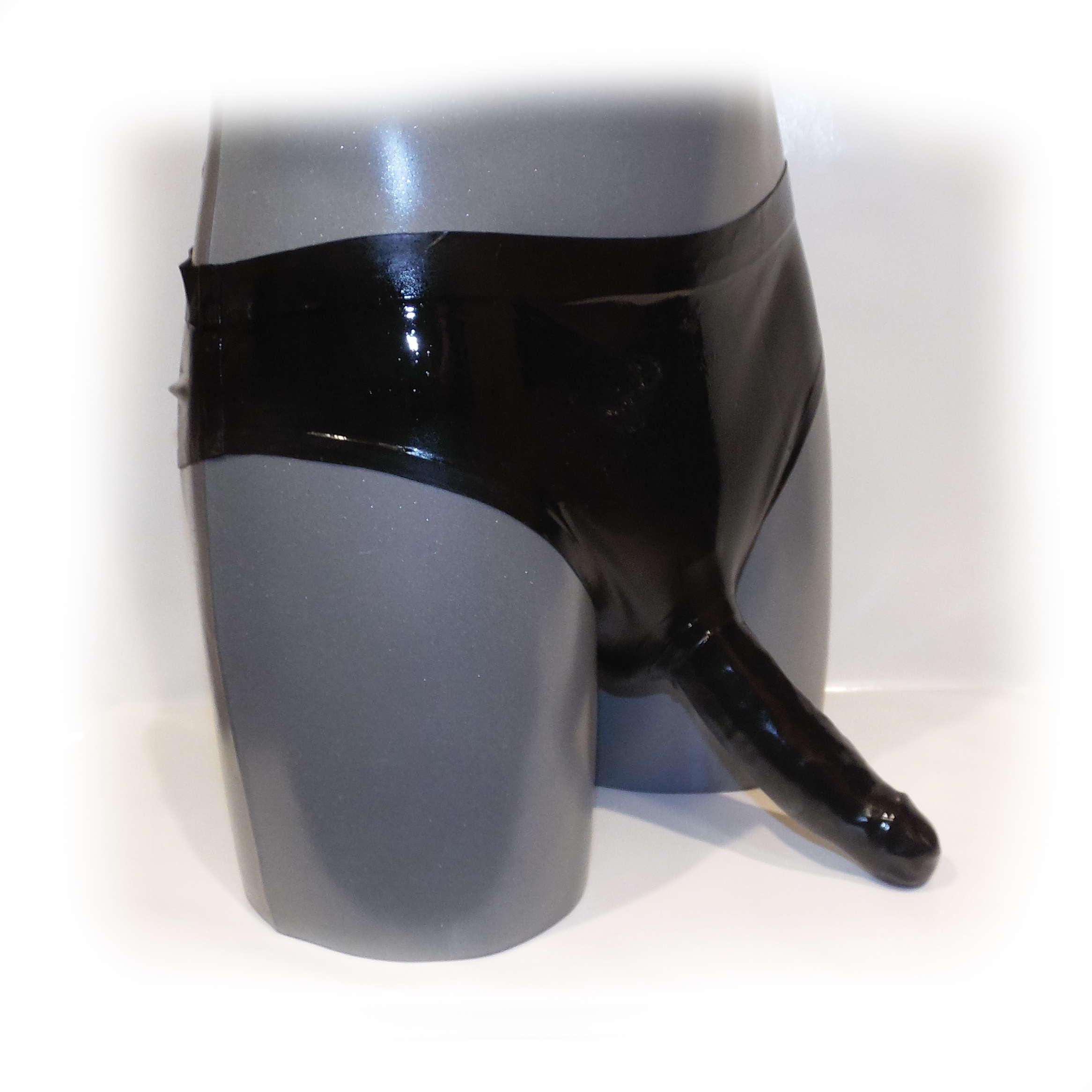 Latex Slip mit Analkondom und Penisschaft - 0,4 mm Hand Size XXL (321)